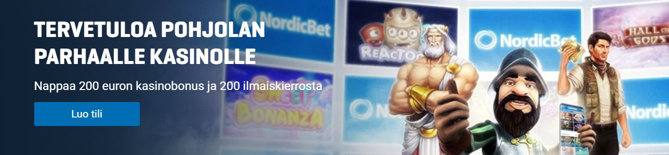 nordicbet 100% bonus + 200 spins