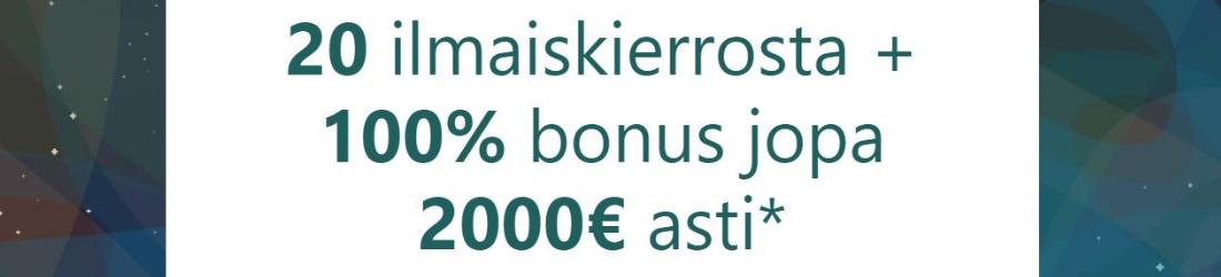Casumo €2000 bonus + 20 free spins