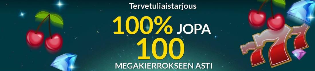 eu casino: 100% bonus 100 megakierrokseen asti