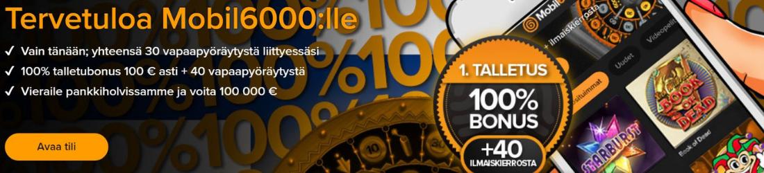 Mobil6000 €100 bonus + 140 free spins
