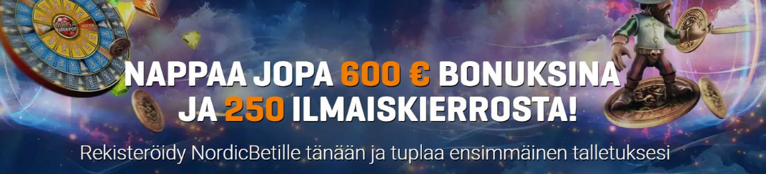 nordicbet €600 bonus 250 free spins