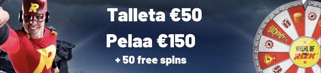 rizk €150 bonus + 50 free spins
